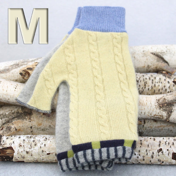 Fingerless Mitten MM8103 Yellow Cable, Grey w/ Navy Blue - Medium