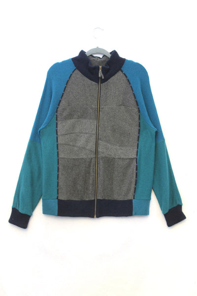 Jackson Charcoal Grey w/ Teal Green & Blue - Large