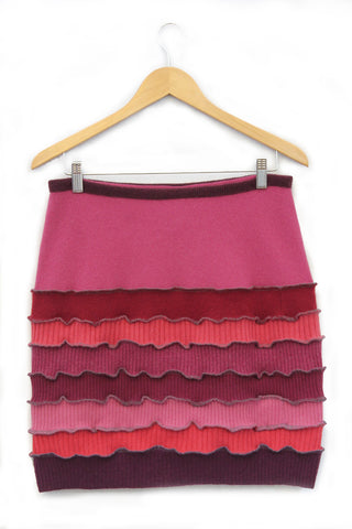 Banded Mini Skirt Burgundy w/ Raspberry, Pink - Medium