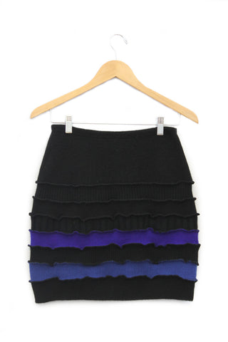 Banded Mini Skirt Black w/ Electric Blue - Small