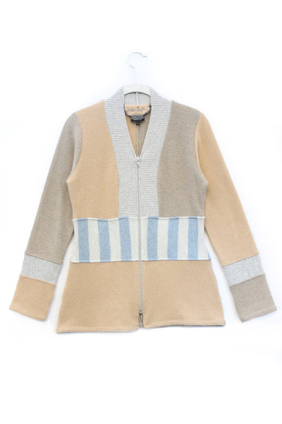 Julie Zip Sweater Camel & Oat w/ Grey, Blue - Small