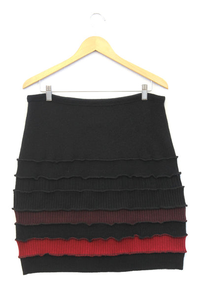 Banded Mini Skirt Black w/ Red, Burgundy - X-Large