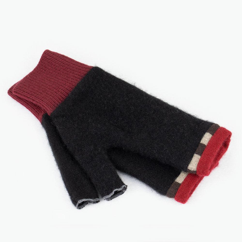 Fingerless Mitten ML0001 Black w/ Red - Large