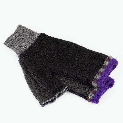 Fingerless Mitten ML0004 Black, Grey w/ Purple - Large