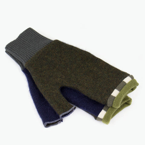 Fingerless Mitten ML0005 Green, Blue - Large