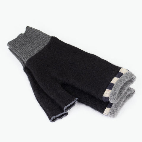 Fingerless Mitten ML0007 Black w/ Grey - Large