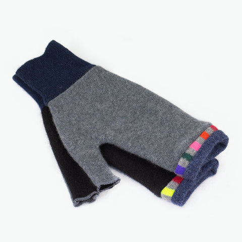 Fingerless Mitten ML0008 Grey, Black w/ Blue - Large