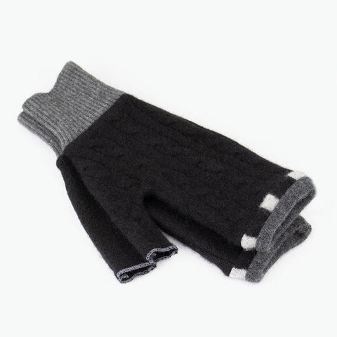 Fingerless Mitten ML0009 Black w/ Grey - Large