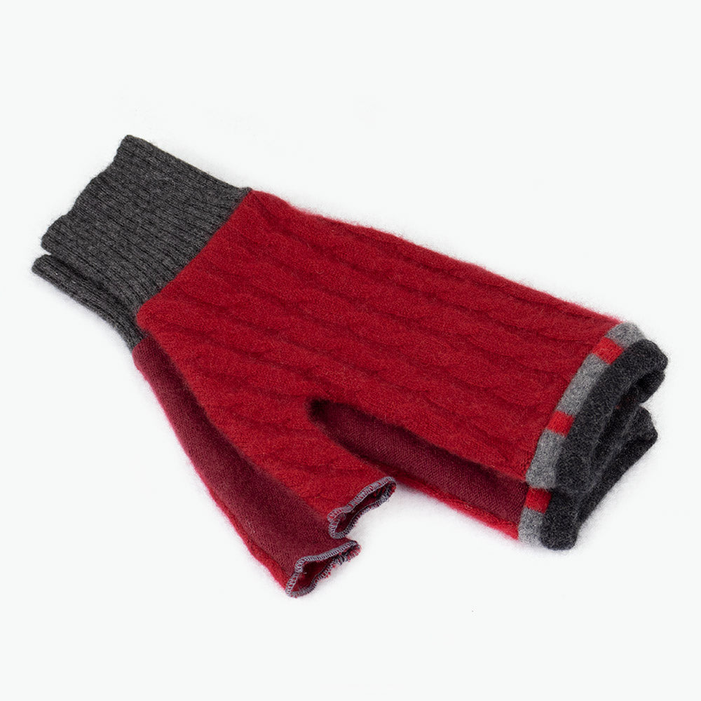 Fingerless Mitten ML0010 Red w/ Grey - Large