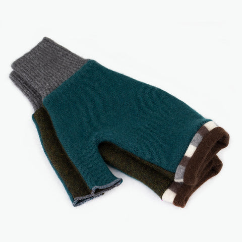 Fingerless Mitten ML0011 Teal, Green w/ Brown - Large