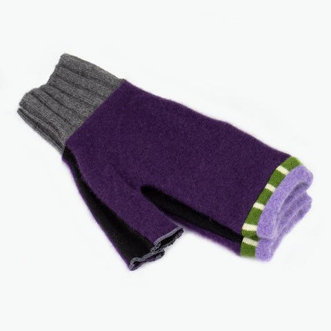 Fingerless Mitten ML0013 Purple, Black w/ Green - Large