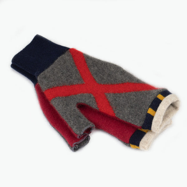 Fingerless Mitten MM0012 Pattern Grey, Red - Medium