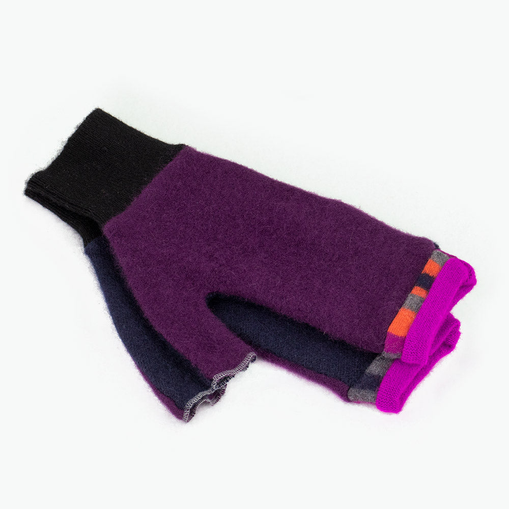 Fingerless Mitten MM0069 Purple, Blue w/ Pink - Medium