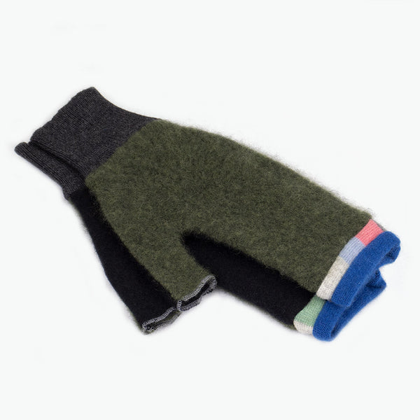 Fingerless Mitten MM0071 Green, Black w/ Blue - Medium