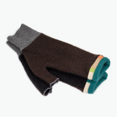 Fingerless Mitten MM0078 Brown, Black w/ Teal - Medium