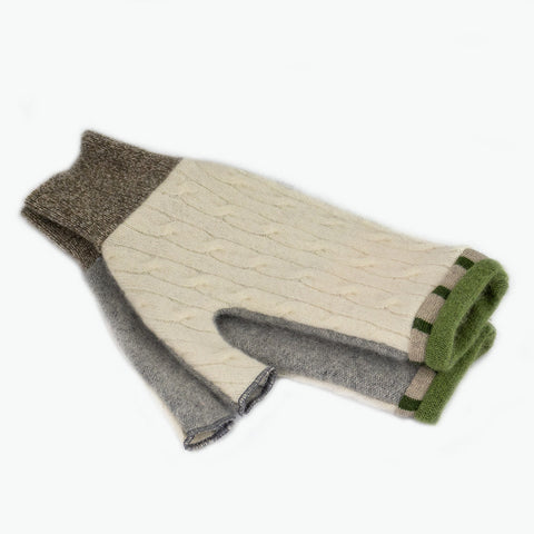 Fingerless Mitten MM0079 White, Grey w/ Green - Medium