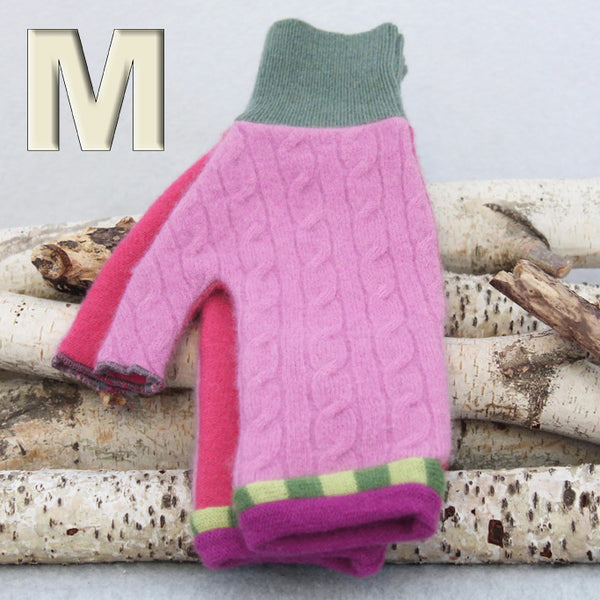 Fingerless Mitten MM8177 Pink Cable w/ Green - Medium
