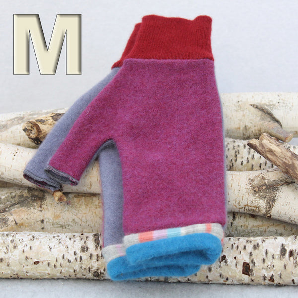 Fingerless Mitten MM8192 Raspberry Pink w/ Dusty Purple and Blue - Medium