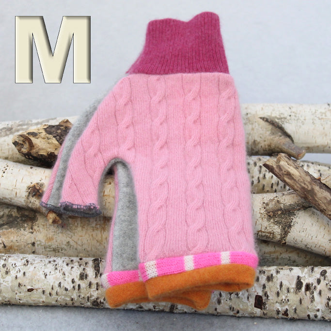 Fingerless Mitten Pink Cable w/ Grey & Orange - Medium MM8215