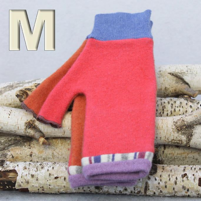 Fingerless Mitten MM8236 Melon Pink w/ Orange, Purple - Mediumg