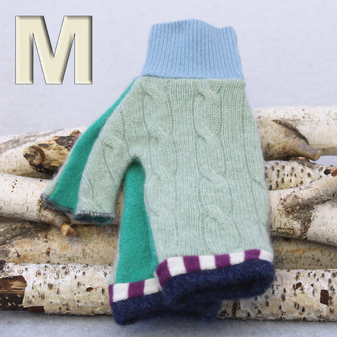 Fingerless Mitten MM8242 Mint Green w/ Purple & Blue - Medium