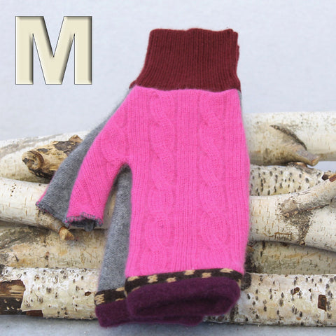 Fingerless Mitten MM8264 Pink & Grey - Medium