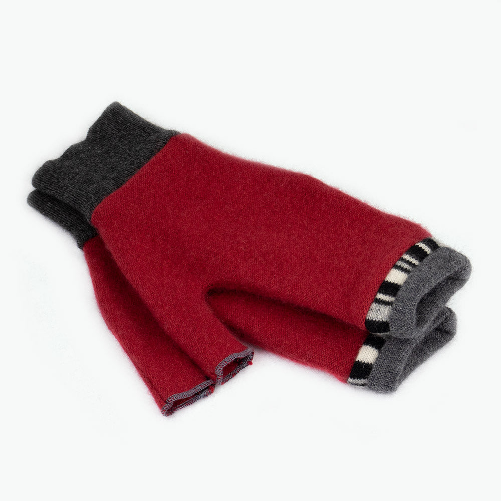 Fingerless Mitten MS0017 Red w/ Grey - Small