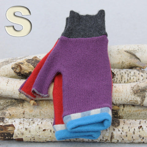Fingerless Mitten MS8225 Purple w/ Red, Blue - Small