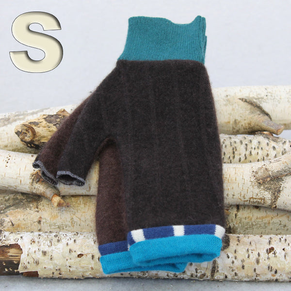 Fingerless Mitten MS8282 Brown w/ Blue - Small