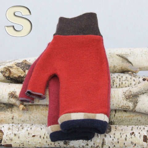 Fingerless Mitten MS8446 Red w/ Navy Blue - Small