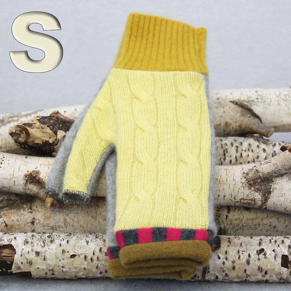 Fingerless Mitten MS8485 Yellow & Grey w/ Raspberry - Small