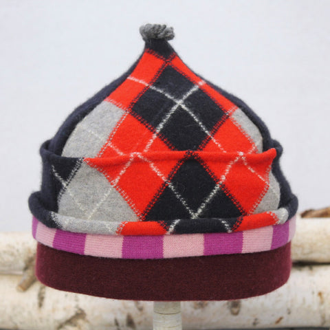 Onion Hat ON8259 Navy Blue & Red Argyle w/ Pink, Burgundy