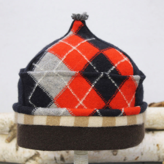 Onion Hat ON8382 Navy Blue & Red Argyle w/ Brown - Small