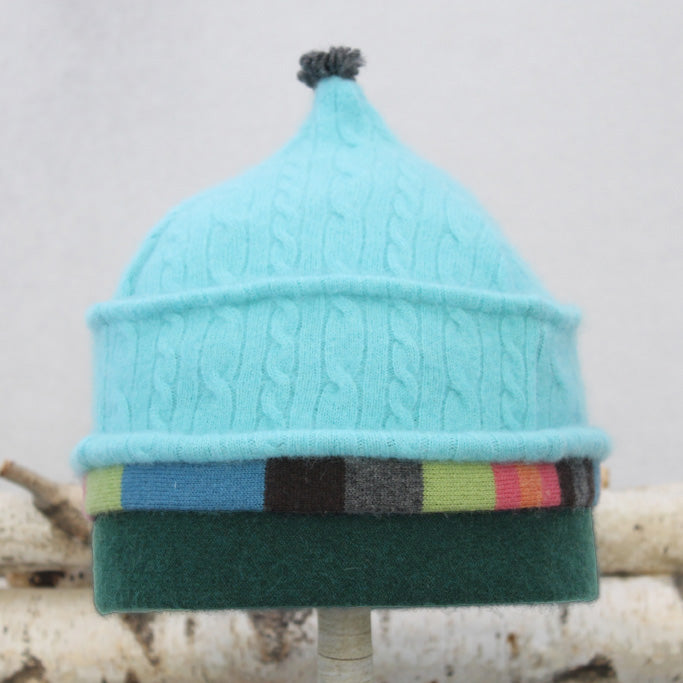 Onion Hat ON9062 Aqua Blue Cable w/ Green