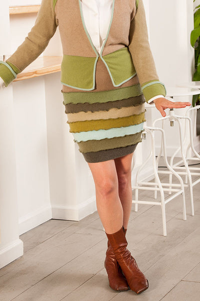 Banded Mini Skirt Brown - X-Large