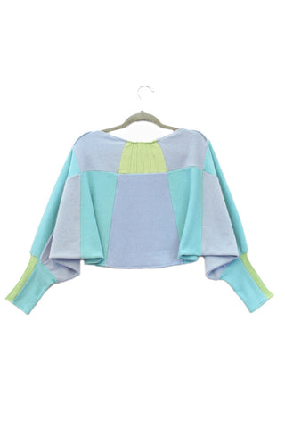 Butterfly Sweater Aqua & Soft Blue w/ Bright Green - Large