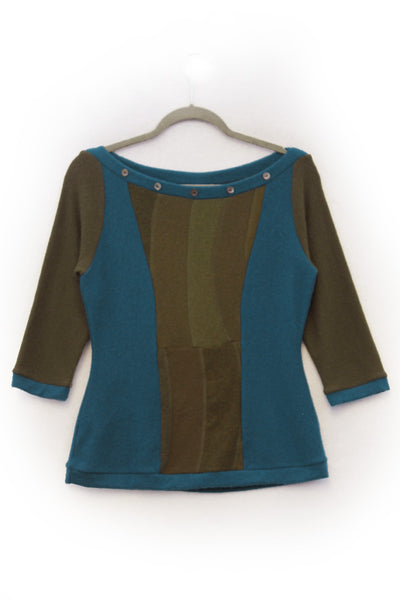 Betty Sweater Olive Green & Peacock Blue - Medium