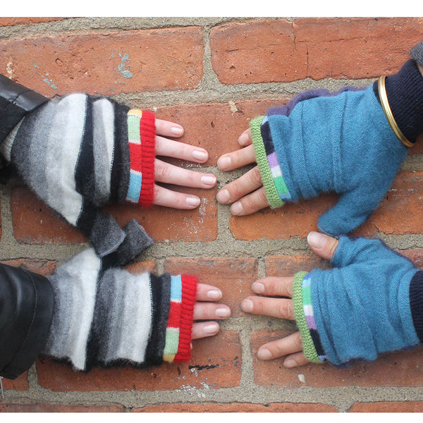 Fingerless Mitten MM0040 Pink, Red w/ Grey - Medium