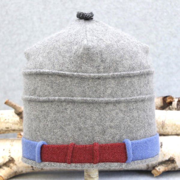 Saturn Hat S7181 Light Grey w/ Cornflower Blue and Red
