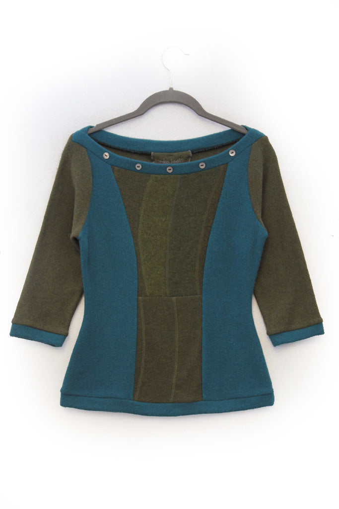 Betty Sweater Olive and Teal Green - X-Small