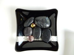Fused-glass soap dishes + dark stones