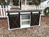 Media Cabinet with Sliding Barn Doors (white)