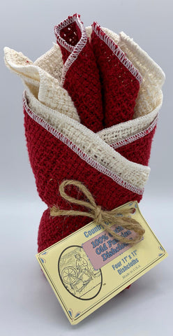 Apple Red & Natural - 4 Dishcloths