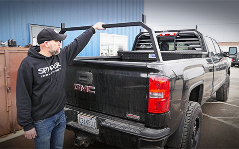 Watch how a headache rack and rear hoop rack is installed on a GMC truck
