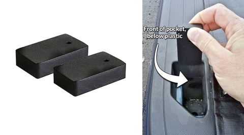 Spacer blocks for use in rear stack pockets on late Chevy and GMC trucks
