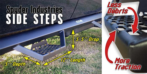 Spyder Industries side steps have the ideal drop height