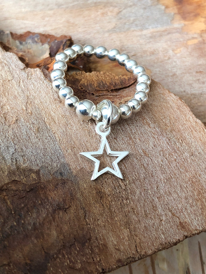 Open Star Bead Ring
