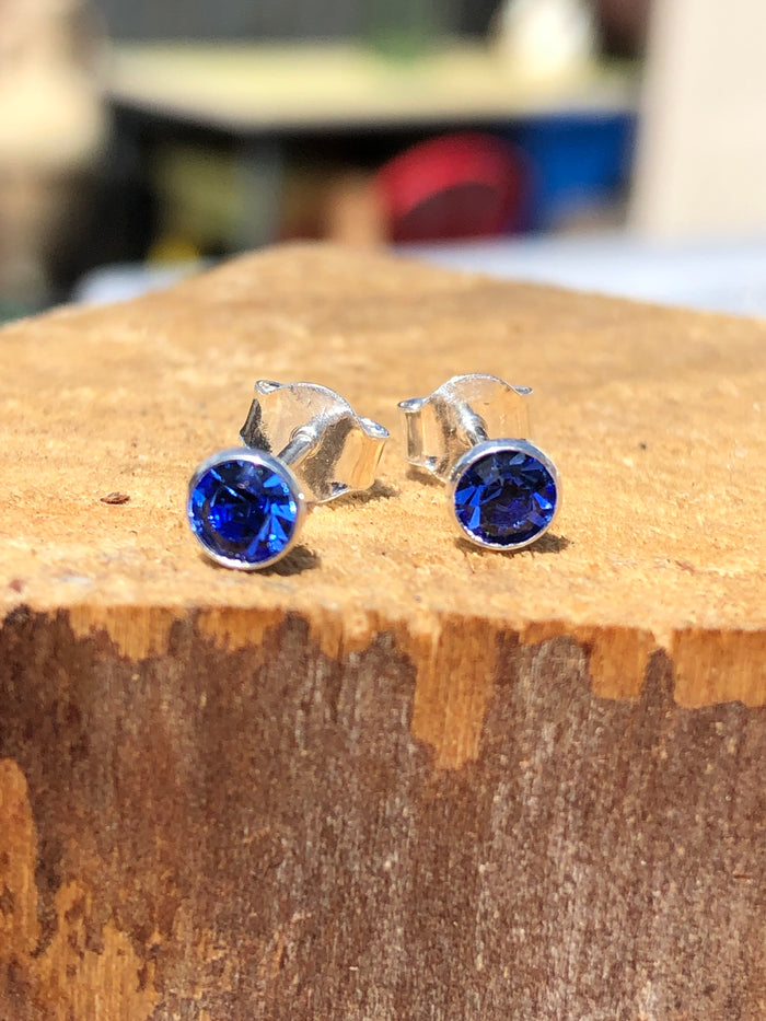 Birthstone September Sapphire Crystal Stud Earrings