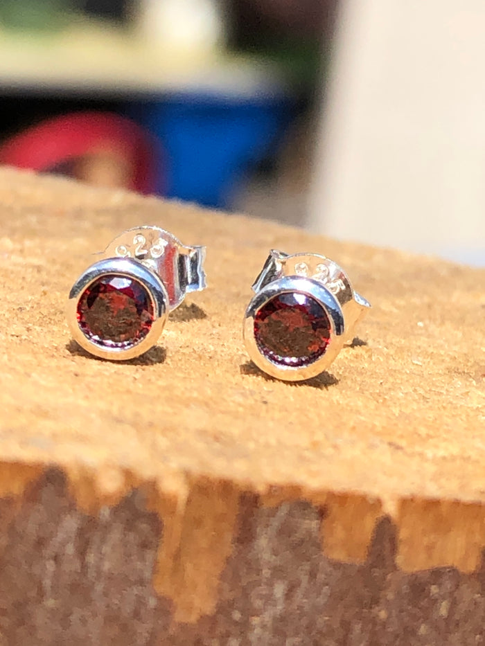Birthstone January Garnet Stud Earrings