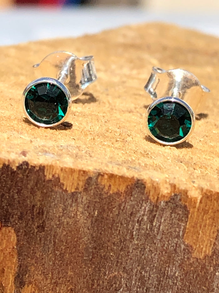 Birthstone May Emerald Crystal Stud Earrings